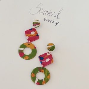 Retro Modern Polymer Clay Earrings- ONE OF A KIND!
